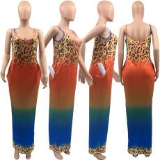 Plus Size Gradient Leopard Loose Pocket Slip Maxi Dress KYF-3063