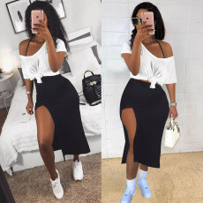 Sexy T Shirt+Split Skirt Two Piece Sets WTF-9133