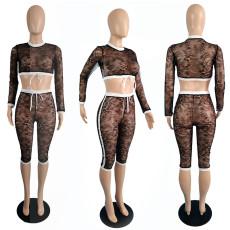 Sexy Lace Long Sleeve Capri Pants 2 Piece Sets TCF-077