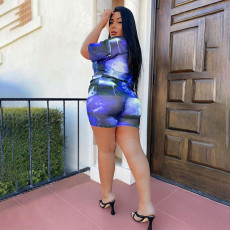 Plus Size Casual Printed Two Piece Shorts Set YAOF-8035