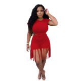 Plus Size Solid Color Short Sleeve And Tassel Shorts Two Piece Sets MTY-6529