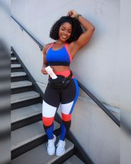 Contrast Color Fitness Two Piece Pants Set XYF-9105