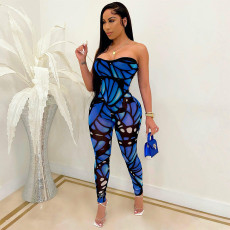 Sexy Printed Off Shouder Tight Tube Jumpsuit SH-390075