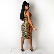 Sexy Leopard Sleeveless Hollow Out Midi Dress SH-390108