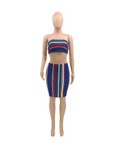 Sexy Striped Tube Top And Skirt 2 Piece Sets SMXF-9103