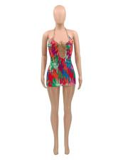 Sexy Printed Halter Backless Mini Club Dress SMXF-9106