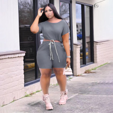 Casual Solid Short Sleeve Two Piece Shorts Set TMF-8035
