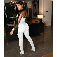 Sexy Solid Strapless Tight Tube Jumpsuit IV-8224
