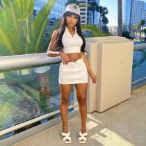 Solid Sleeveless Zipper Mini Skirt 2 Piece Sets NLAF-6069
