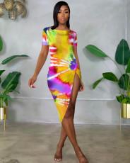 Tie Dye Print Short Sleeve Irregular Midi Dress OM-0008