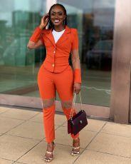 Elegant Mesh Patchwork Blazer Two Piece Suits OY-6292