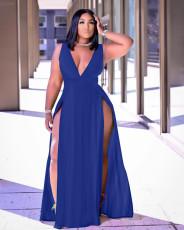 Plus Size Sexy Solid Sleeveless High Split Maxi Dress WAF-7205