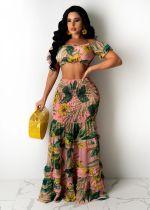 Floral Print Crop Top Long Skirt 2 Piece Sets SFY-MM002