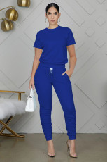 Solid Short Sleeve Stacked Pants Two Piece Sets WY-6762