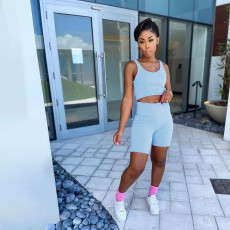 Solid Sports Tank Top And Shorts 2 Piece Sets MEI-9185