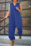 Plus Size Solid Sleeveless V Neck Loose Jumpsuit OMY-0027