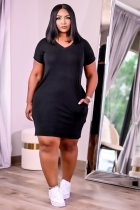 Plus Size Casual Solid V Neck Short Sleeve Mini Dress JRF-3627