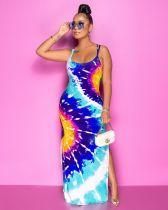 Sexy Printed Split Backless Cross Strap Maxi Dress SXF-2119