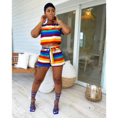 Colorful Striped T Shirt+Sashes Shorts Two Piece Sets FOSF-8083