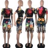 Ink Jet Print Short Sleeve Tassel Shorts 2 Piece Sets SIF-075