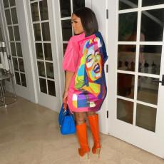 Casual Printed Short Sleeve O Neck Mini Dress AWN-5221