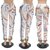 Casual Printed Tassel Mid-Waist Pants MIF-9068
