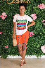 Casual Printed T Shirt+Lace Up Shorts 2 Piece Sets OMY-0028
