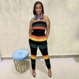 Sexy Striped Off Shoulder Strapless Jumpsuit SIF-071
