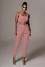 Solid Color Casual Vest And Pants Two Piece Sets YH-5225