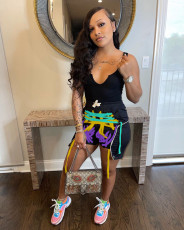 Fashion Vest And Rope Print Shorts Two Piece Set YH-5224