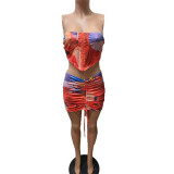 Sexy Printed Tube Top Ruched Mini Skirt 2 Piece Sets MIF-9069