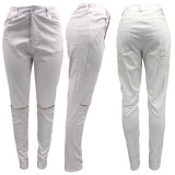 Casual Solid Color Slim Hole Pants KYF-3081