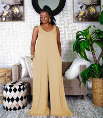 Casual Solid Sleeveless Wide Leg Jumpsuit TR-1153