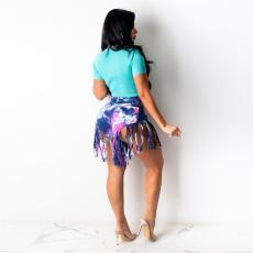 Plus Size Tie Dye Print Tassel Shorts SH-3797