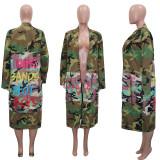 Plus Size Camo Print Full Sleeve Long Coat SH-3726