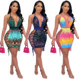 Sexy Sequined Halter Bandage Club Dress SH-390072
