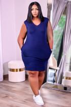 Casual Solid Color Sleeveless Midi Dress KSN-8092