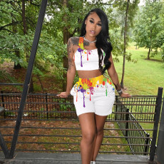 Ink Jet Print Tank Top And Shorts 2 Piece Sets YFS-10001