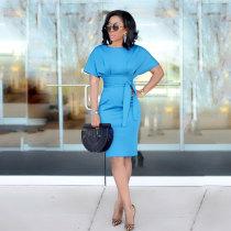 Plus Size Solid High Waist Sashes OL Elegant Dress SH-3351