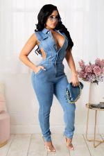 Plus Size Denim Sleeveless Hollow Slim Jeans Jumpsuit LX-6087