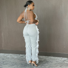 Solid Color Casual Bra Tassel Pants Two Piece Sets SH-390131