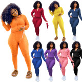 Plus Size Solid Color Casual Sports Coat And Pants Two Piece Set (With Mask) SH-390124