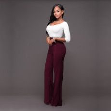 Solid Double Breasted High Waist Pants SH-2006-0