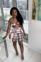 Plus Size Plaid Bra Top Pleated Mini Skirt 2 Piece Sets QYF-5070