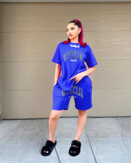 Fashion Casual Letter Print T-shirt Shorts Two Piece Sets NYZF-6005