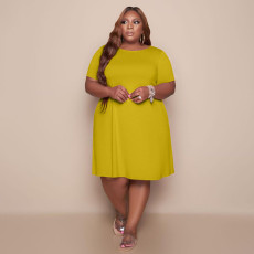 Plus Size Solid Short Sleeve O Neck Casual Dress TCF-079