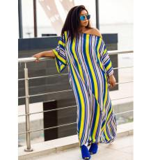 Casual Loose Striped High Split Sashes Long Dress SHA-96242