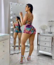 Fashion Sexy Print Backless Rompers NYZF-6006