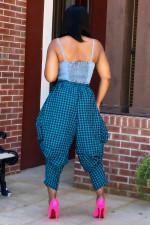 Fashion Plaid Print Loose Casual Pants FNN-8613