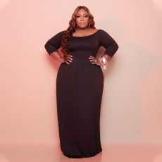 Plus Size Solid High Waist 3/4 Sleeves Pocket Maxi Dress YAOF-80043
